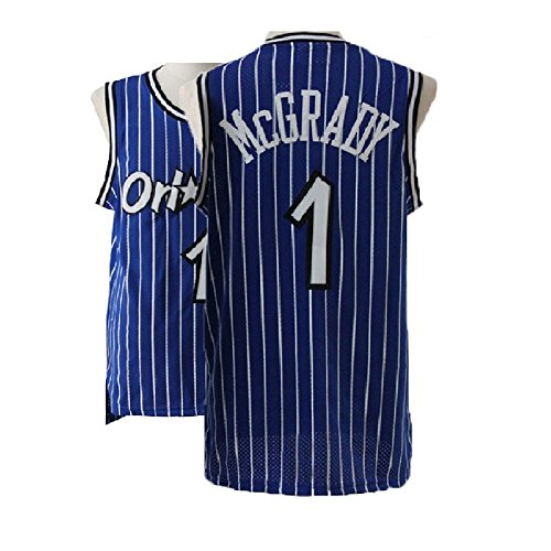 Kedelac Men's McGrady Retro Jerseys Tracy Blue Athletics Jersey Orlando Basketball #1 Jersey (M)