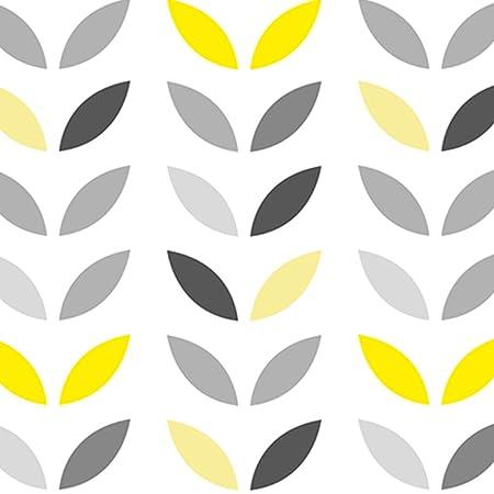 Wallpaper Leaves Grey Yellow 0 50 X 10 Mt Amazon Co Uk Kitchen Home