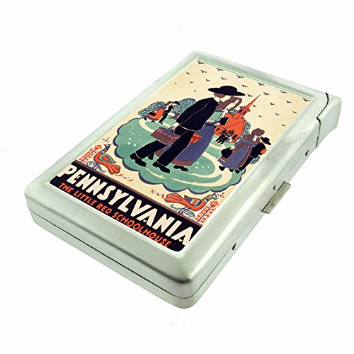 Perfection In Style Metal Cigarette Case with Built In Lighter Vintage Travel Posters Design 011