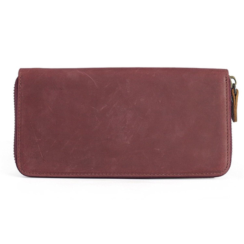 TIDING Women's Long Purse Zipper Wallet Retro Genuine Leather Wallet 4138