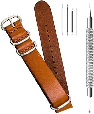 CIVO Genuine Grain Leather NATO Zulu Military Swiss G10 Watch Band Strap 18mm 20mm 22mm Stainless Steel Buckle