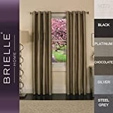 Brielle 100-Percent Dupioni Real Silk Lined Insulated, Room Darkening and Energy Saving Grommet Panel, 50 by 95″, Steel Grey For Sale