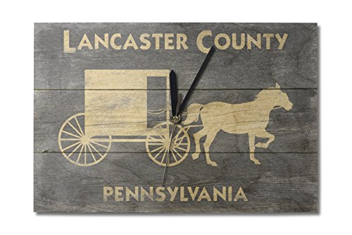 (Lancaster, Pennsylvania - Horse and Buggy - Rustic (10x15 Wood Wall Clock, Decor Ready to Hang))