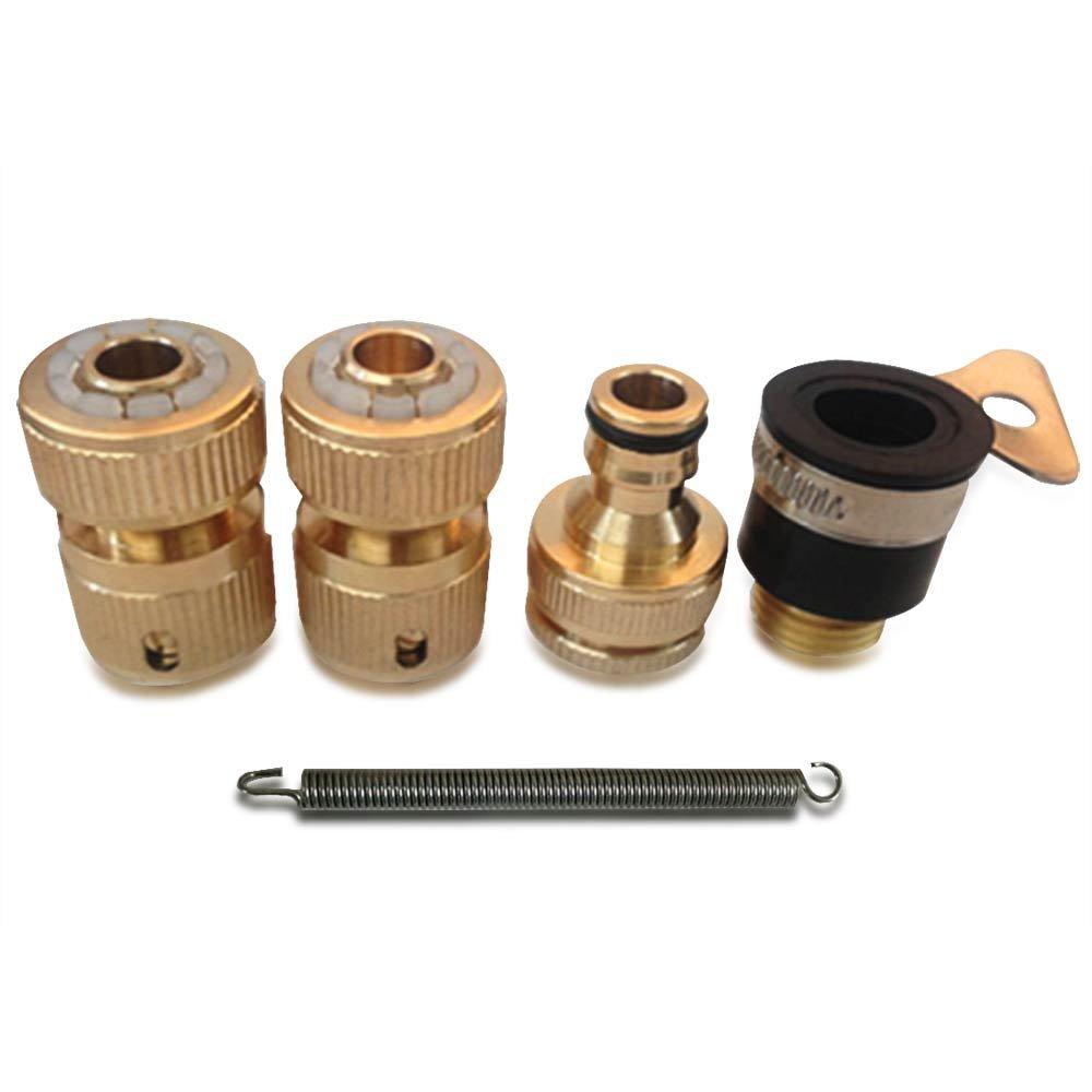 NUZAMAS Juego de 4 adaptadores de manguera de jard/ín de lat/ón macizo para c/ésped y manguera de agua