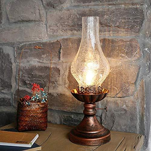 Retro Eisen Tischlampe Schlafzimmer Nachttisch Lampe Kreative Glas Tischleuchten chinesische Vintage Petroleumlampe Modellierung Arbeitszimmer Bar Wohnzimmer Café Schreibtisch Lampe E27 Ø14*28cm
