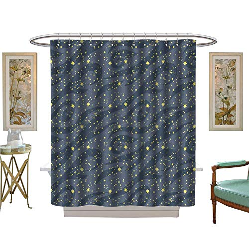- luvoluxhome Shower Curtains Fabric Many Bright Stars in The Night Sky can be Used for Wallpaper Textile Fabric Bathroom Decor Set with Hooks W72 x L96