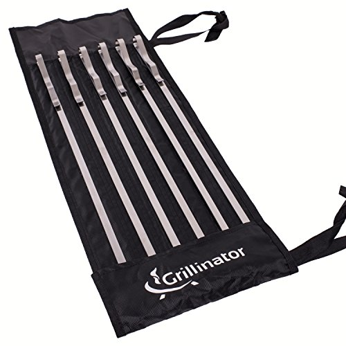 Grillinator Kabob Skewers Stainless Steel Kebab Maker Sticks 14 inch Shish Kababs, Set of 6 Replaces Wood Plastic & Bamboo Forks Rotisserie Rack & Grilling Baskets ()