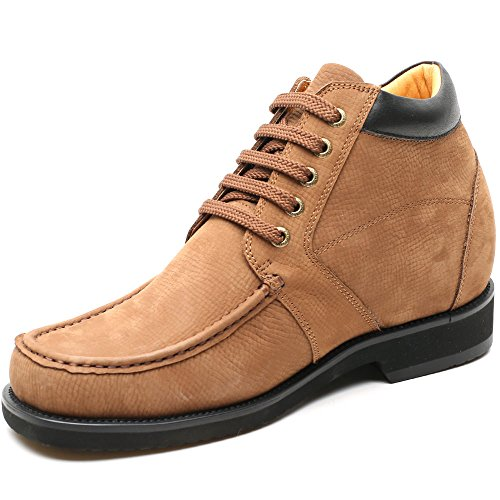 CHAMARIPA Mens Casual Shoes Hiking Boots 3.54 inches Height Increasing Insoles AV1931 Brown 1WkJ7Tq