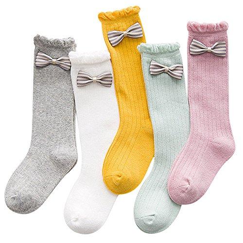 BOOPH Girls Knee High Stockings Cotton Bowknot Socks for Kids 5 of Pack 2T-11T
