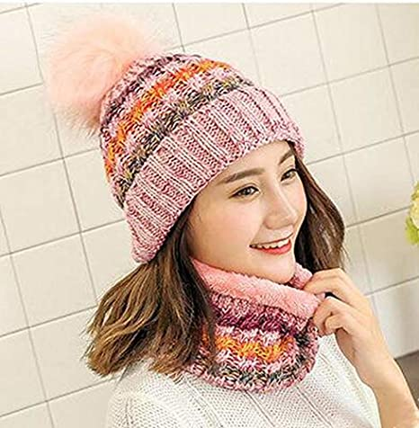 77cee233e2e Amazon.com   Woman Knit Beanie Hat and Scarf Set Hairball Pom Pom Hats  Female Thick Hat 2pcs Winter Warm Cute Girls Fashion Cap Collar Suit (Pink  Scarf Hat) ...