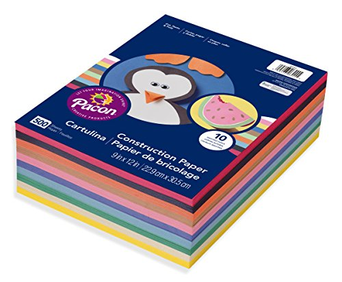 Pacon 6555 Rainbow Super Value Construction Paper Ream, 45 lb, 9 x 12, Assorted, 500 Sheets