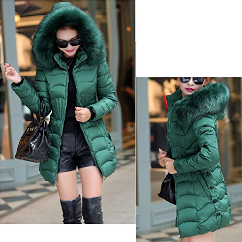 Outerwear Coats Warm Padded pour Femmes Zhhlinyuan with Classic Big negro élégant Long Hooded Hiver et Collar Zip Cotton Chic A4Fz0A7O