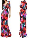 فستان طويل بقبة V والوان متعددة - مقاس S، L51208-3