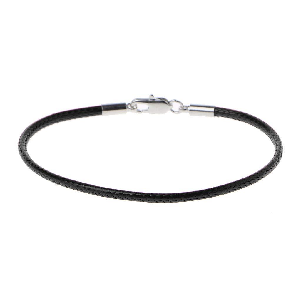 Simdoc Braided Leather Bracelet Wristband With Lobster Clasp Charm Bracelet Rope DIY Jewelry