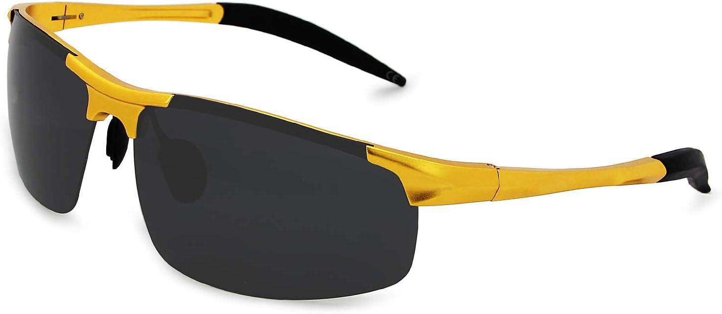AMZTM Al-Mg Gafas de Sol Polarizadas Deportivas para Hombre Gafas para El Pesca Ciclismo Protección UV Ultraligero (dorado Cuadro Gris Lente, 68)