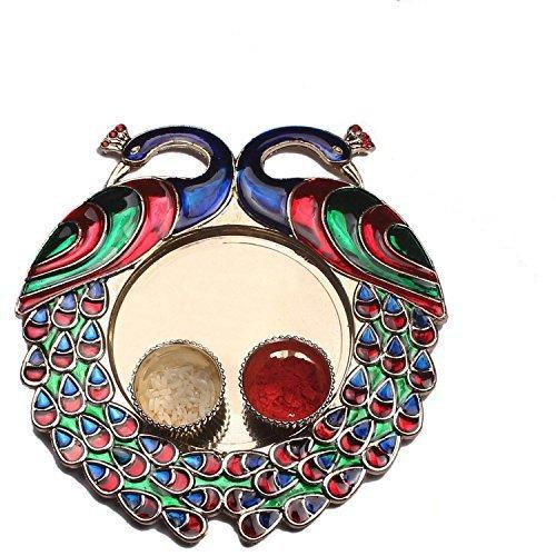 Designer Pooja Thali/Rakhi Platter/Engagement Ring Platter/Tilak Thali For Kumkum & Chawal with Metallic Finish Pooja Thali With Kumkum Bowl Multicolor Pooja Thali Special For Festive Thali (Pack of 1