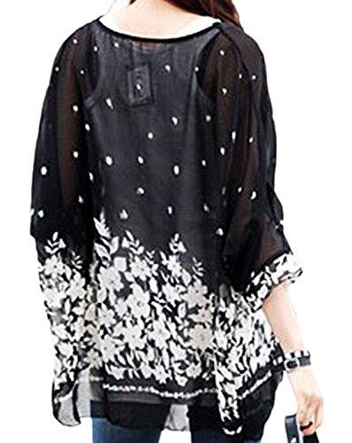 erdbeerloft - Basic Kaftan Tunika mit Blumen Print im Batwing Look, Größe One Size M-XL, Schwarz