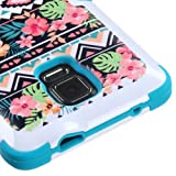 Galaxy Note 4 Case, LUXCA® TUFF Hybrid 3-Piece 2-Layer [Heavy Duty] Defender Protective Cover for Samsung Galaxy Note 4 (Teal Hawaii Tribe)