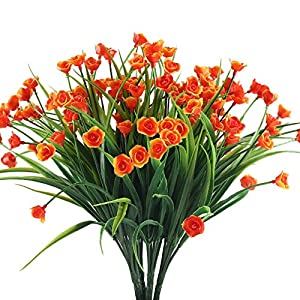 Fake Flowers XYXCMOR 4PCS Plastic Flowers Artificial Greenery Decor Shrubs Plants for Indoor Outdoor Porch Wall planter Home Kitchen Garden Orange Red 106