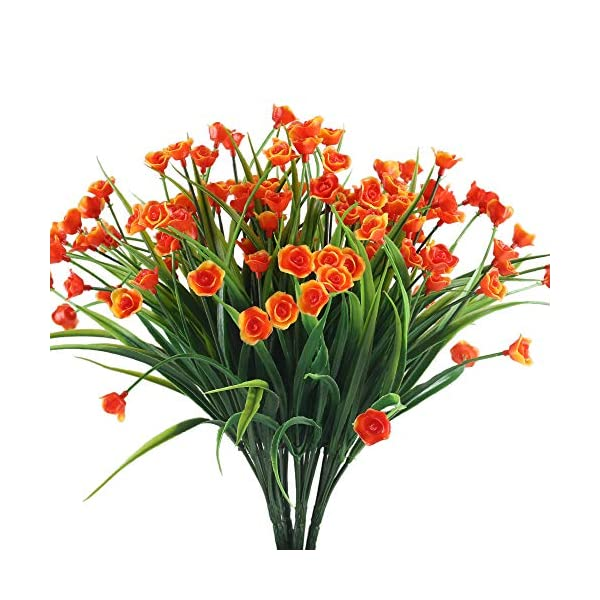 XYXCMOR-4PCS-Artificial-Flowers-Fake-Bushes-Plants-Orange-Mini-Rose-Bud-Plastic-Wheat-Grass-Shrubs-Wedding-Table-Floral-Arrangement-Outdoor-Garden-Windowsill-Indoor-Living-Room-Decoration
