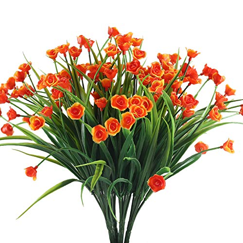 Fake Flowers XYXCMOR 4PCS Plastic Flowers Artificial Greenery Decor Shrubs Plants for Indoor Outdoor Porch Wall planter Home Kitchen Garden Orange Red