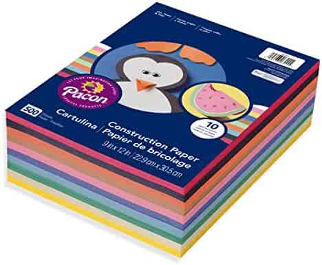 Pacon Lightweight Construction Paper, 10 Assorted Colors, 9