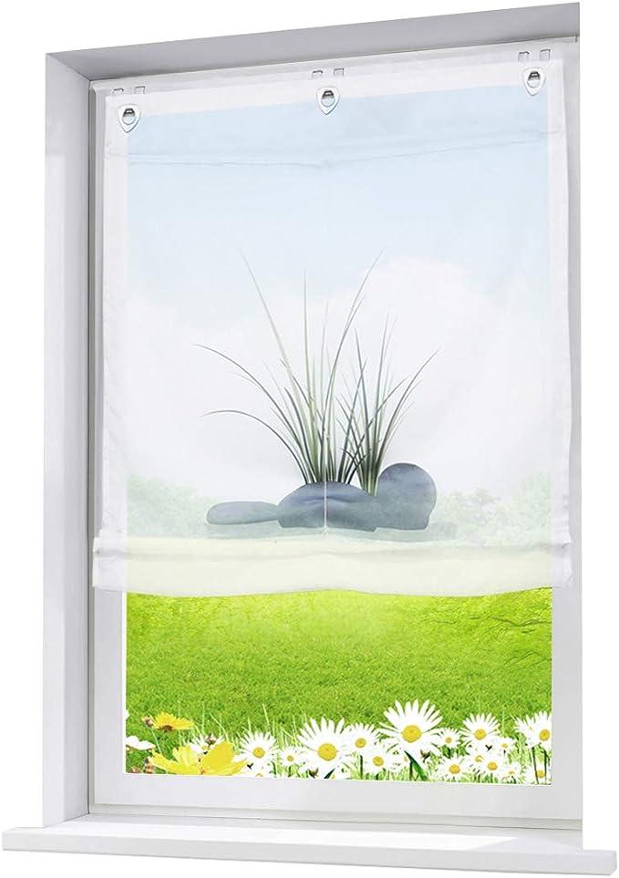 rafrollo digital bedruckt aus Voile B80cmxH140cm 91933-768 weiß