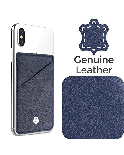- Cobble Pro Self Adhesive [Genuine Leather] Stick On Credit Card Phone Holder Wallet Case Compatible with Every Phone, iPhone Xs Max/XS/XR/X/8/8 Plus, Android Smartphone, Navy Blue