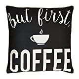 Campus Linens But First Coffee Decorative Pillow for College Dorm Bedding