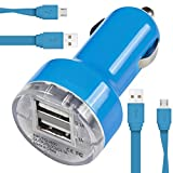 Archos Sense 50X Car Charger Compact Rapid Bullet DUAL Small Fast Travel DC 12V/24V In Car Charger USB Adapter with 2 x 1 Meter Flat Data Sync Charging Cable ( Light Blue )