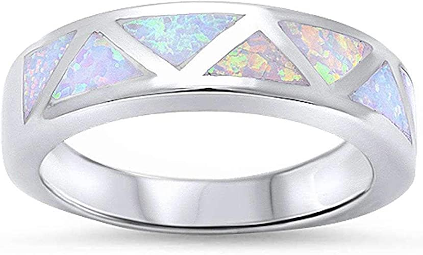 Princess Kylie Synthetic Blue Opal Antique Cross Ring Sterling Silver