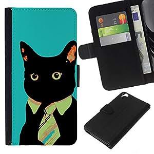 KLONGSHOP // Tirón de la caja Cartera de cuero con ranuras para tarjetas - Lazo negro del gato del estilo del arte ojos rojos de neón felina - HTC Desire 820 //