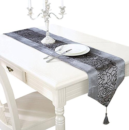 Aothpher 13x70 inch Classic Damask Table Runner Gray with Tassel for Thanksgiving, Christmas,Party, Event -