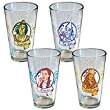 ICUP Wizard of Ounce Portrait Swirl Pin, Scarecrow, Tinman, Dorothy, Lion Pint Glass, 4-Pack