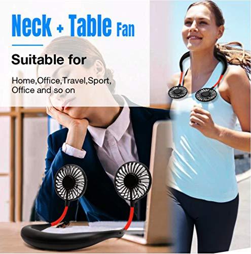Portable Neck Fan, ZYHZMSGJ Wearable Sports Fan Rechargeable LED Fan Around Neck Hands Free Personal Fan with 3 Speed, 360° Free Rotation, Hanging Neck Fan Cooling Fan for Traveling Outdoor Office