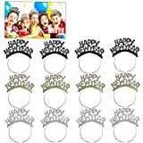 Amosfun HAPPY NEW YEAR Headband New Years Eve Tiara Hair Clasp Aluminum Foil New Year Party Decorations for Celebration New Year Party Supplies,Pack of 24