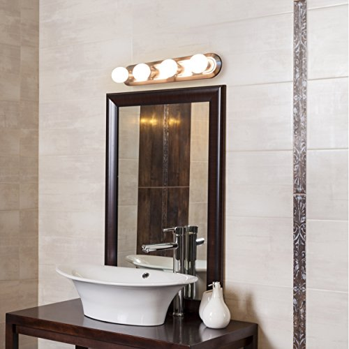 CE Four Light Vanity Strip, Brushed Nickel, 24-Inch (BRUSHED NICKEL BASE ONLY) Nickel Four Light Vanity Strip