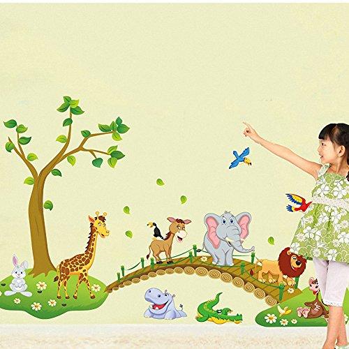 Cute Jungle Animal Across the Bridge Removable Cartoon Wall