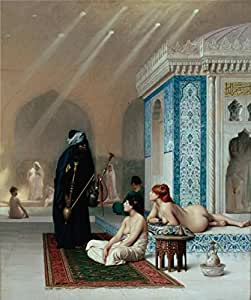 Oil painting 'Pool in a Harem,1876 By Jean-Leon Gerome' printing on Cotton Canvas , 24x29 inch / 61x73 cm ,the best Home Office artwork and Home gallery art and Gifts is this Imitations Art DecorativeCanvas Prints