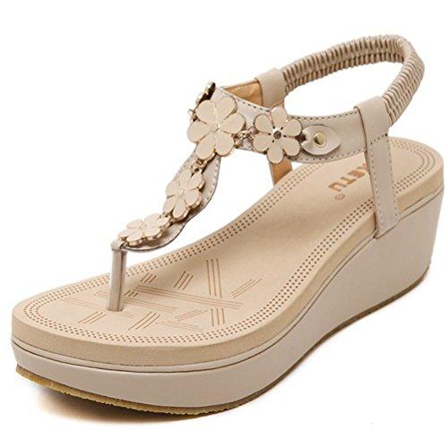 Zapatos 001 Estampado De Flores La white Punta Beach Toe Con Diamante Open Playa Sandalias c7pWYw8q