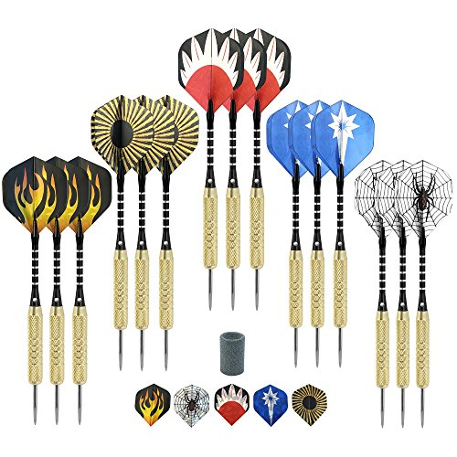 Best Price! Steel Tip Darts (15 Pack) 18 grams with aluminum shafts, brass barrels and Laser dart fl...