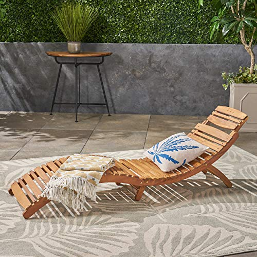 (GDF Studio 237520 Lisbon Wood Outdoor Chaise Lounge, Yellow/Brown)
