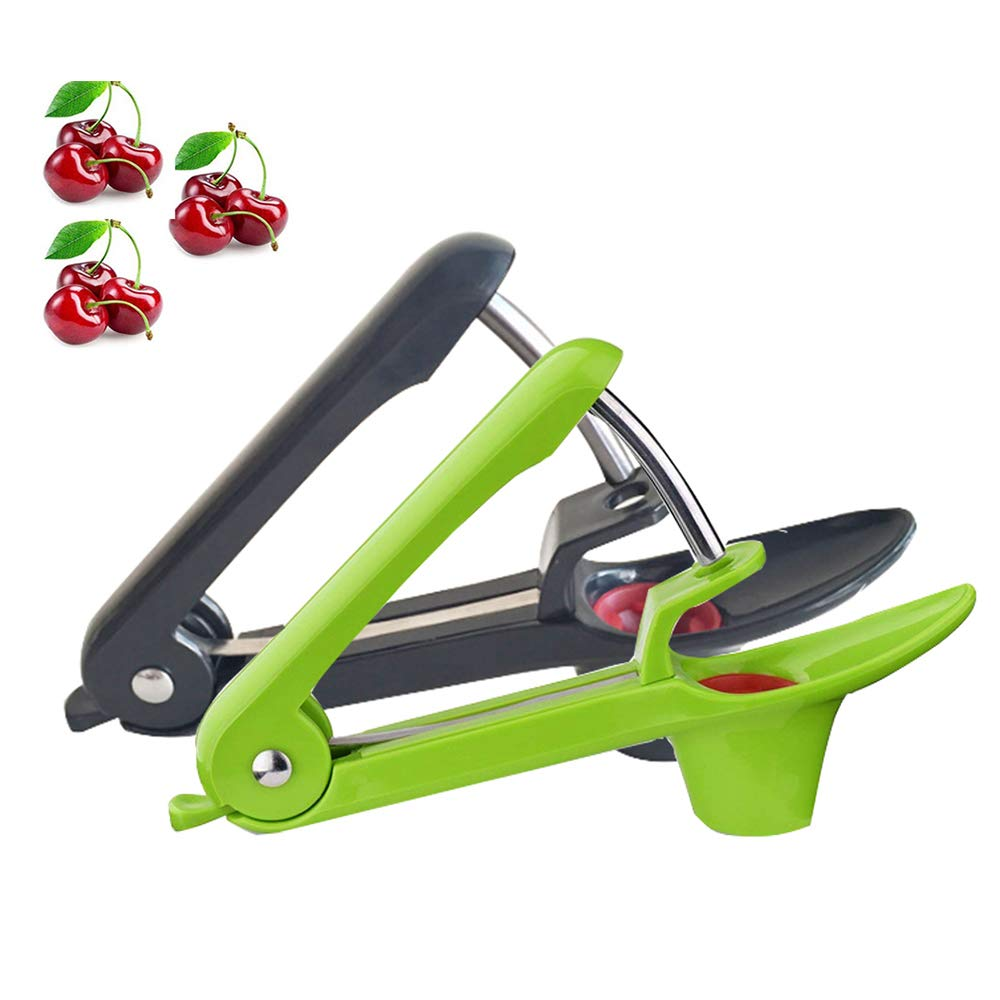 YUFF Good Grips Olive Cherry Pitter,Cherry/Olive Stone Core Seed Remover Tools (2 Pack Black Green)