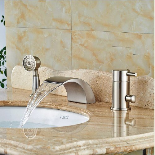 Gowe Widespread Brushed Nickle Tub Faucet Bathroom Sink Tap Mixer Faucet W/Hand Showe 3