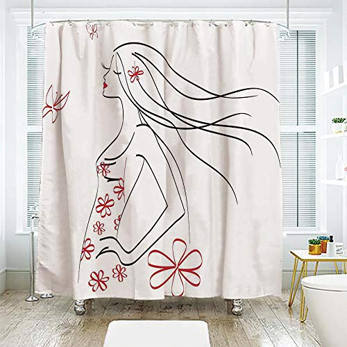(scocici DIY Bathroom Curtain Personality Privacy Convenience,Girls,Young Girl in Dress with Flower Ornamentals Butterfly Blowing Hair Art Decorative,Charcoal Grey Vermilion,78.7