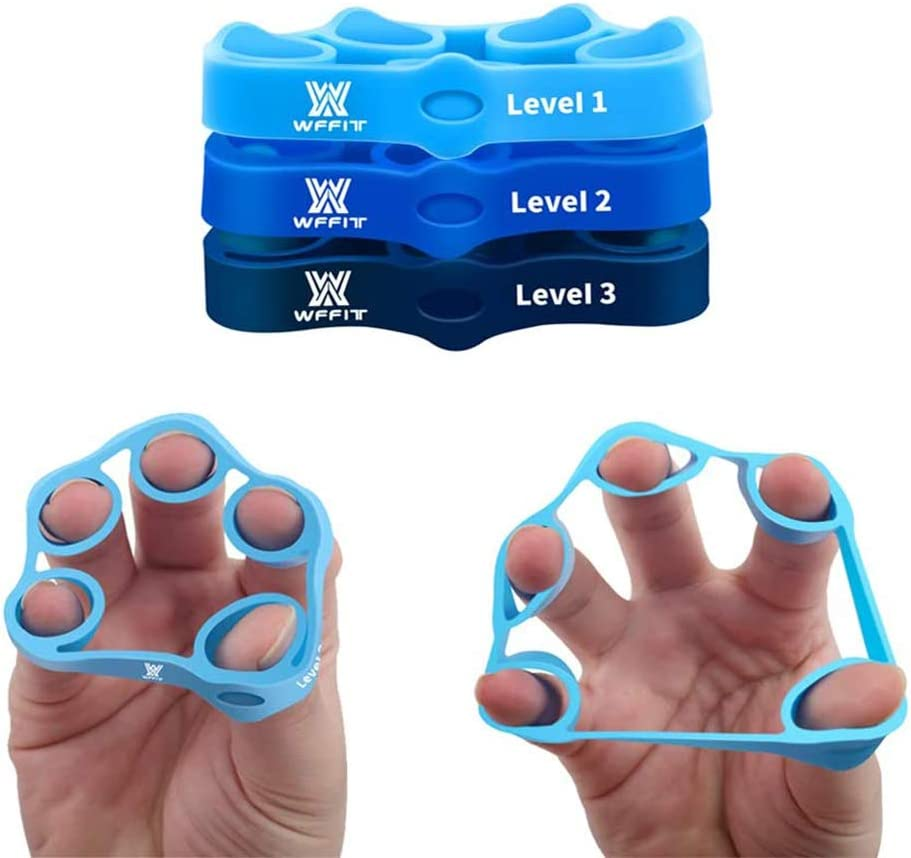 Fitness shaping tool grip Creative Finger Stretcher Forearm Workout Hand Resistance Bands Hand-extensor Exerciser Finger Grip Strengthener-3 Resistance Levels Easy Heavy Essential tools for Medium