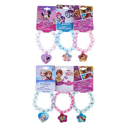 Mozlly Disney Faceted Beaded Bracelet Plastic Character Charm Cute Girly Arm Accessory in Pink, Blue, Purple - Heart Flower Beads Assorted Whimsical Jewelry Gift for Little Girls (6 Items) ()