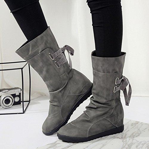 de Gran Plano 43 E 41 Botas Las Hembra ZH Gris con Después Zapatos Martin Occidentales Fondo de Botas Tamaño en de Invierno Mujer Otoño de pR5wIq