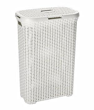 49aed704d8b 60L Litre Woven Style Rattan Plastic Laundry Basket Bin Storage Box WHITE   Amazon.co.uk  Kitchen   Home