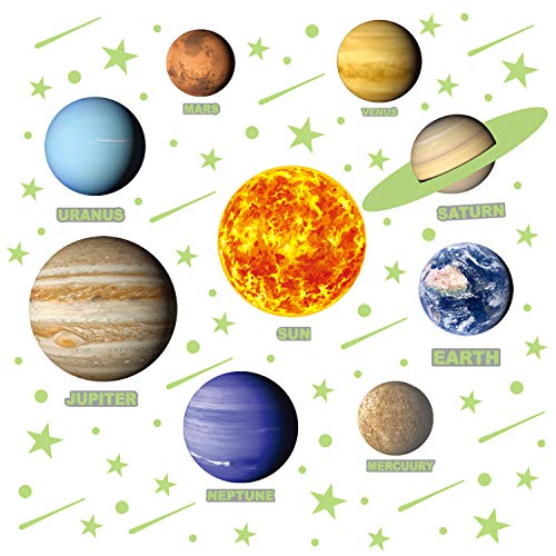 PARLAIM Removable Glow in The Dark Star and Planet Wall Stickers Bright Solar System Wall Stickers Perfect for Kids (9 pcs Solar System Wall Stickers, 40pcs Stars Stickers and 14pcs Shooting Stars)